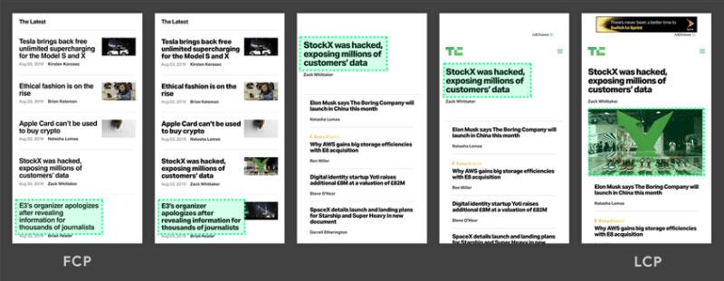 Variazione layout contenuti scomparsi